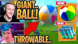 Streamers First Time Using *NEW* Giant Beach Ball, Chug Splash & Landing at Giant Umbrella