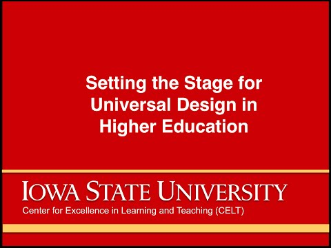 Setting the Stage for Universal Design in Higher Education