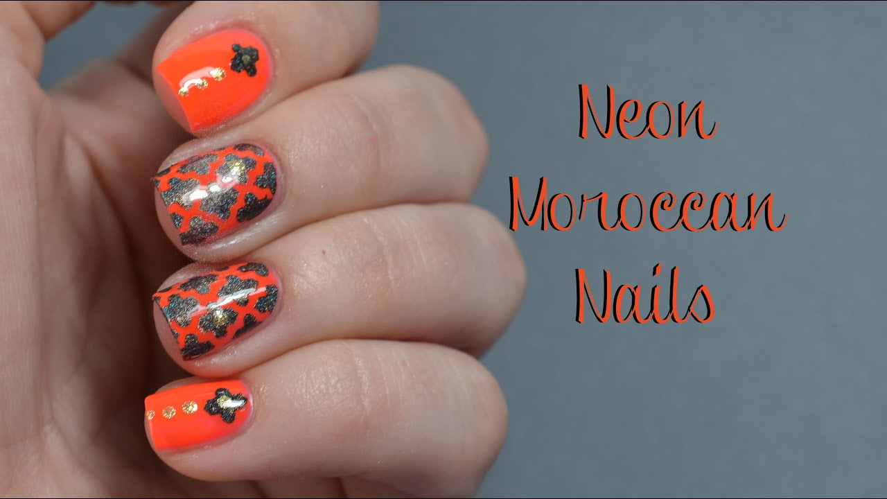 Neon Moroccan Nail Art Tutorial Youtube