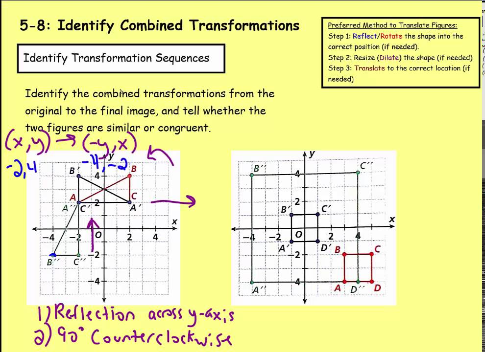 Worksheet Combined Transformations Worksheet math 8 5 identify combined transformations youtube transformations