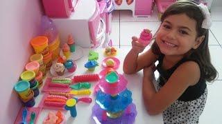 Brincando massinha play-doh cupcake, sweet shoppe