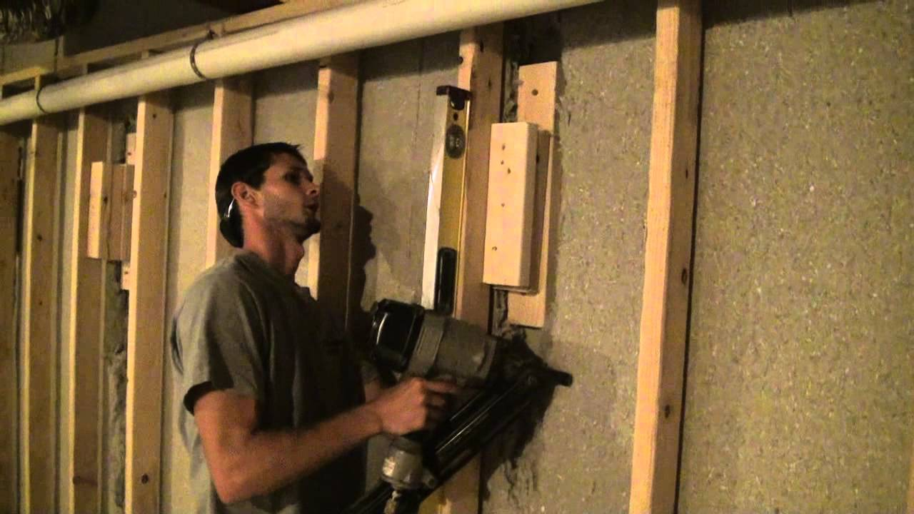 Basement Wall Framing wood blocking installation - special wall framing situations - youtube