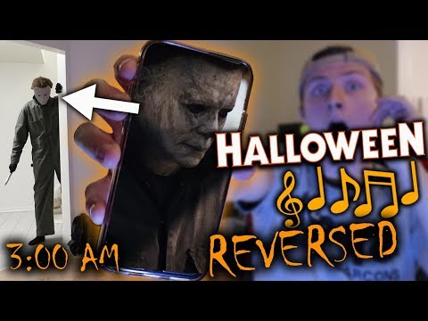 (MICHAEL MYERS IS HERE) LISTENING TO HALLOWEEN MUSIC REVERSED AT 3 AM CHALLENGE!!!