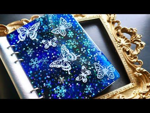 【レジン】冬の手帳 雪降る夜空に舞う蝶🦋【100均モールド/折り紙】DIY Snowy Night  Notebook Cover