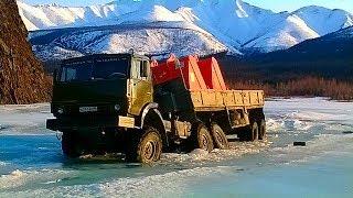 Труднопроходимые дороги Грузовики на бездорожье техника на зимнике и конец зимника  #2
