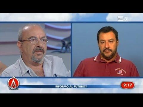 "Vauro vs Matteo Salvini ""Razzista e fascista!""- Agorà Estate 05/08/2015"