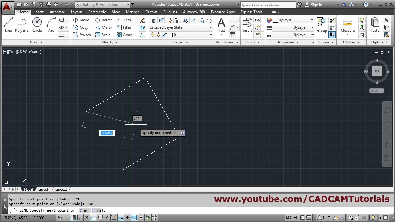 Drawing Lines With Angles In Autocad : How to draw line with angle in autocad youtube