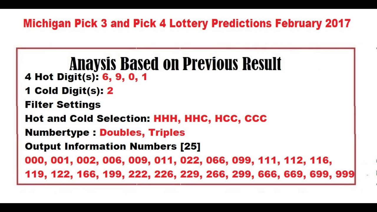 michigan lottery results for today 3 4 digit