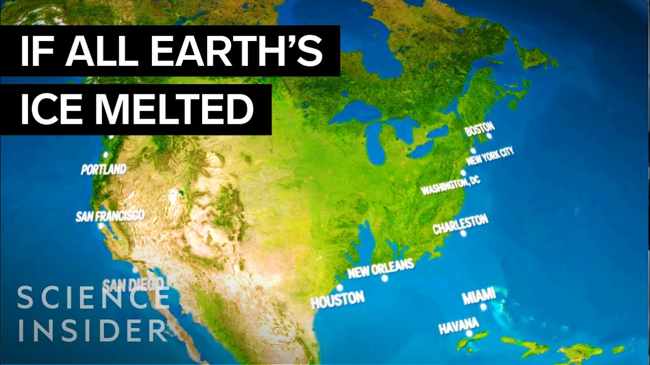 World Map If Sea Levels Rise.How Earth Would Look If All The Ice Melted Youtube