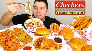 Chili Cheese Fries, Cheese Sticks, Cheeseburger, & Buffalo Wild Wings • Checkers • MUKBANG