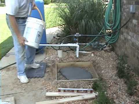 How to pour a small concrete slab from the drill your for Air conditioner pad concrete