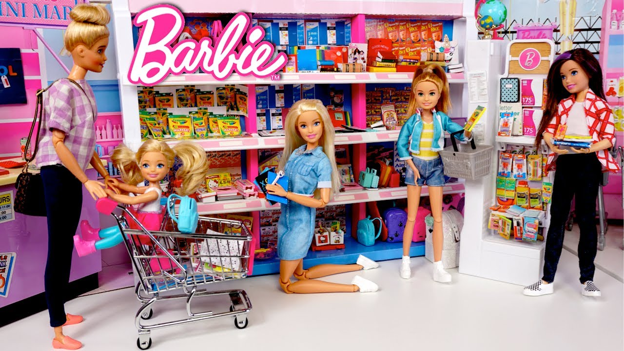 Barbie Dreamhouse Family Goes School Supply Shopping - Toy Supermarket