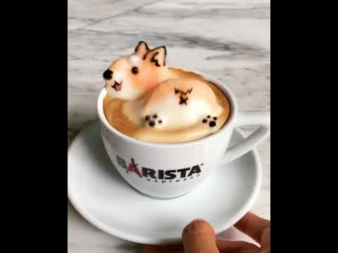 3d latte art is a cute butt wiggling corgi youtube