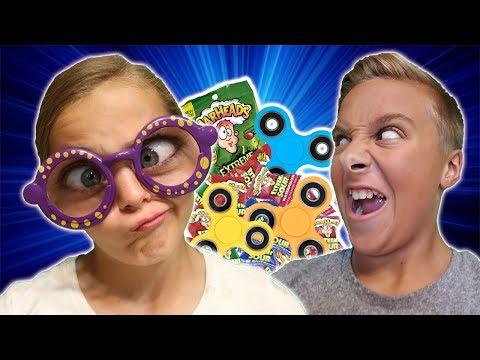 DIY Fidget Spinner Trick Shots with Distortion Goggles Challenge! ft Marissa & Brookie