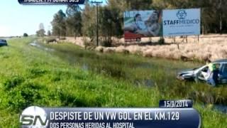 Chascomús: 2 personas trasladadas tras despistar su auto en el km.129 de la Ruta 2