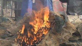 """Tin Tức 24h Mới Nhất : Nghệ An phát hiện, tiêu hủy hơn 80 lồng lưới """"bát quái"""" đánh bắt thủy sản"""