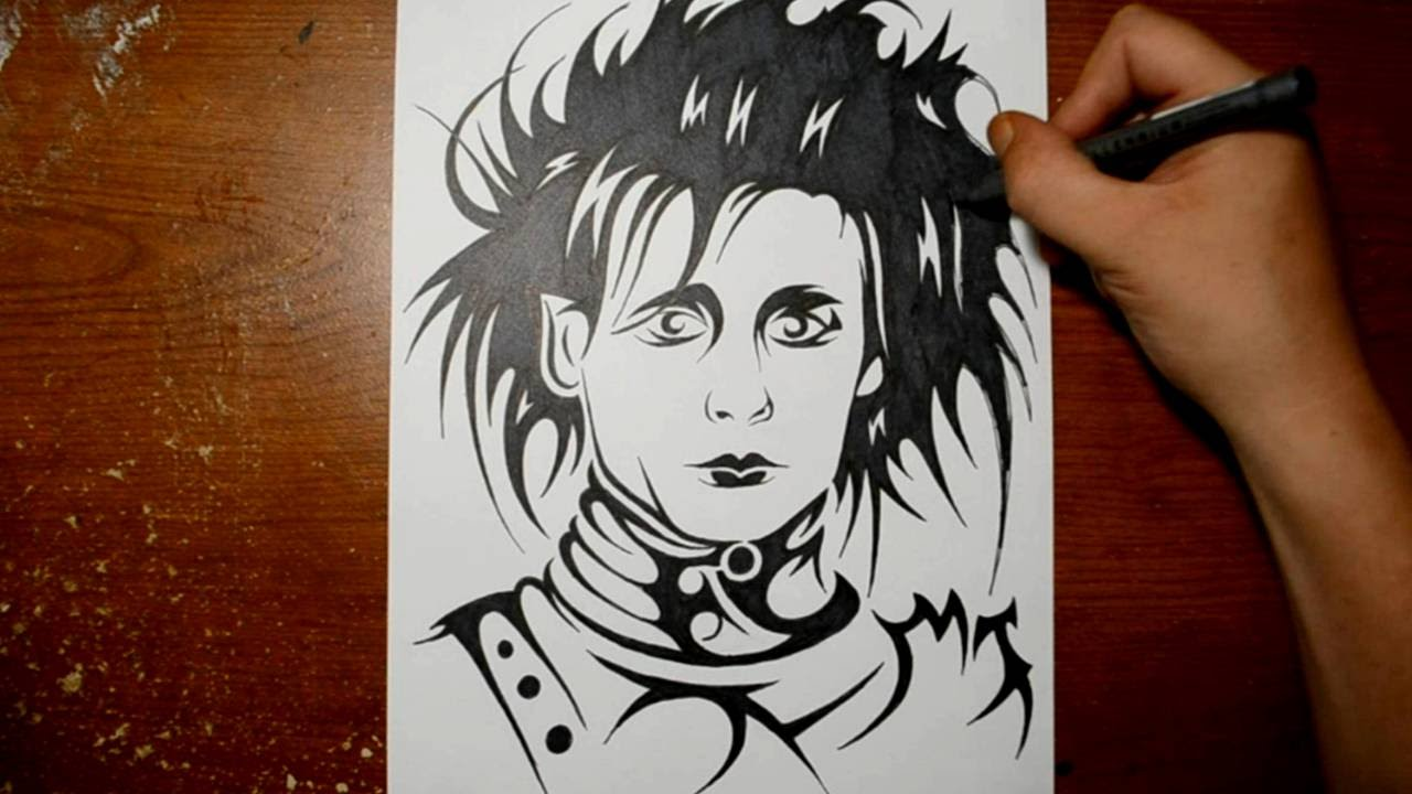 drawing edward scissor hands in a tribal tattoo design style youtube. Black Bedroom Furniture Sets. Home Design Ideas