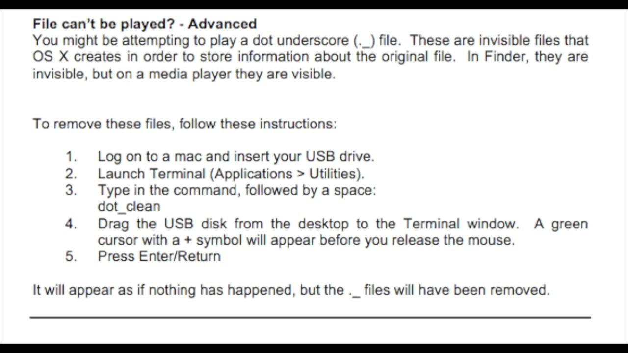 delete dot files mac usb