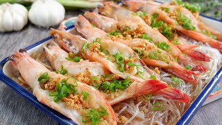 So Easy youll never order this at a restaurant. Steamed Garlic Prawns 清蒸蒜蓉冬粉虾 Chinese Shrimp Recipe