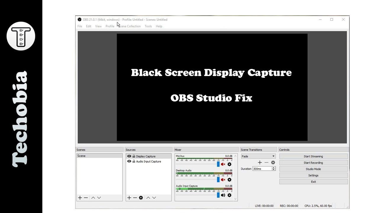OBS Studio Black Screen 21 0 1 Display Capture Fix | 2018