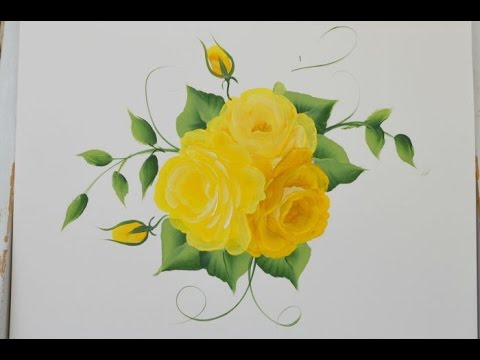 Paint yellow roses one stroke at a time youtube mightylinksfo