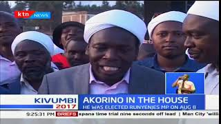 Akorino worshipers welcomed Runyenjes MP-Eric Muchangi after his re-election win