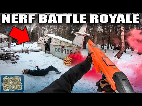 NERF FIRST PERSON SHOOTER BATTLE ROYALE!!  Worlds Biggest Nerf War