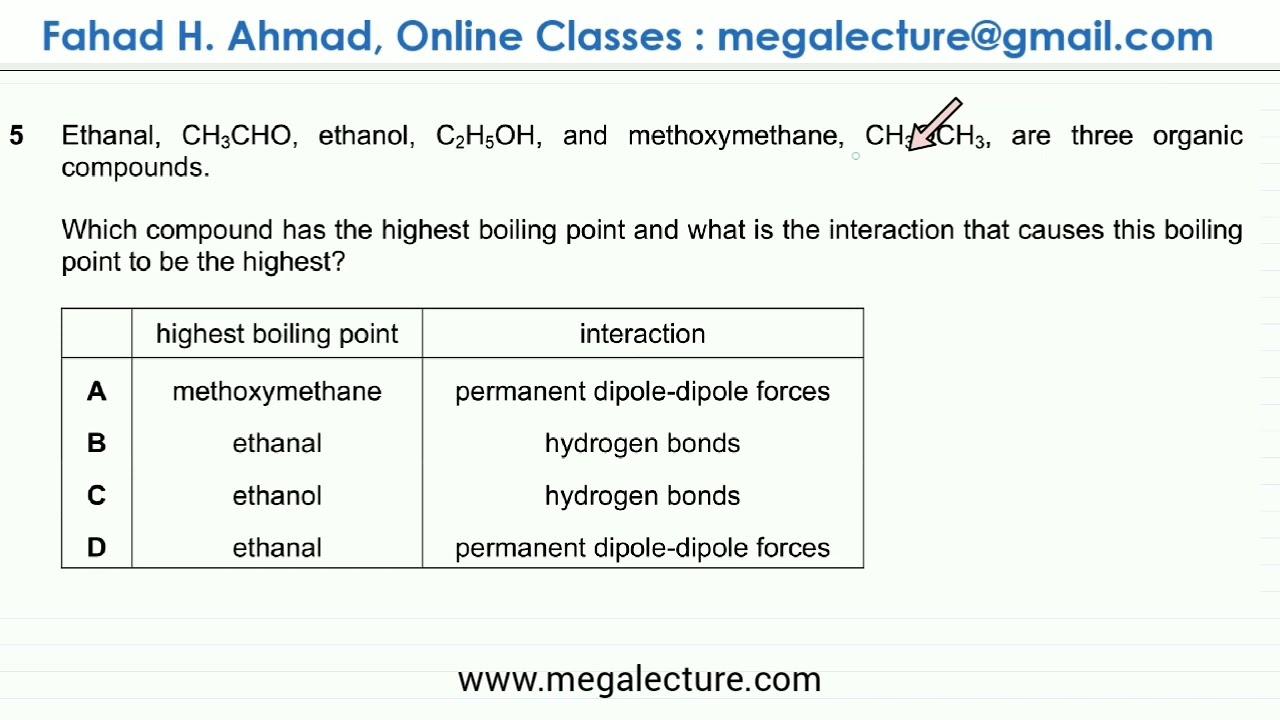 5 9701 W19 Qp 11 Intermolecular Forces Hydrogen Bonds Permanent Dipoles Van Der Waals Youtube