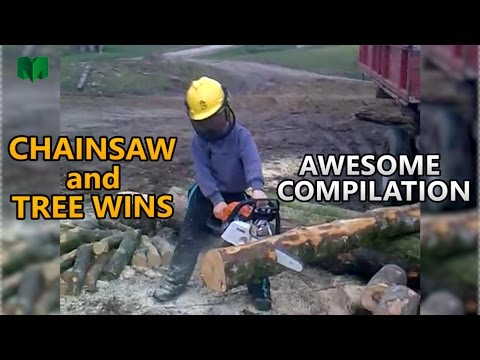 Chainsaw and tree epic wins - Awesome people WIN compilation