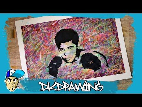 """Drawing Muhammad """"The Greatest"""" Ali  R.I.P. Graffiti Stencil Pop Art Style"""