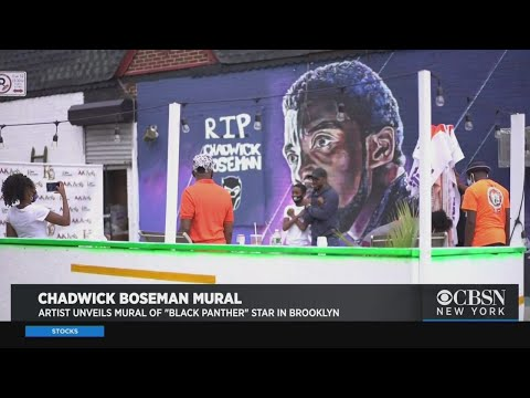 Artist Unveils Mural Of 'Black Panther' Star Chadwick Boseman In Brooklyn