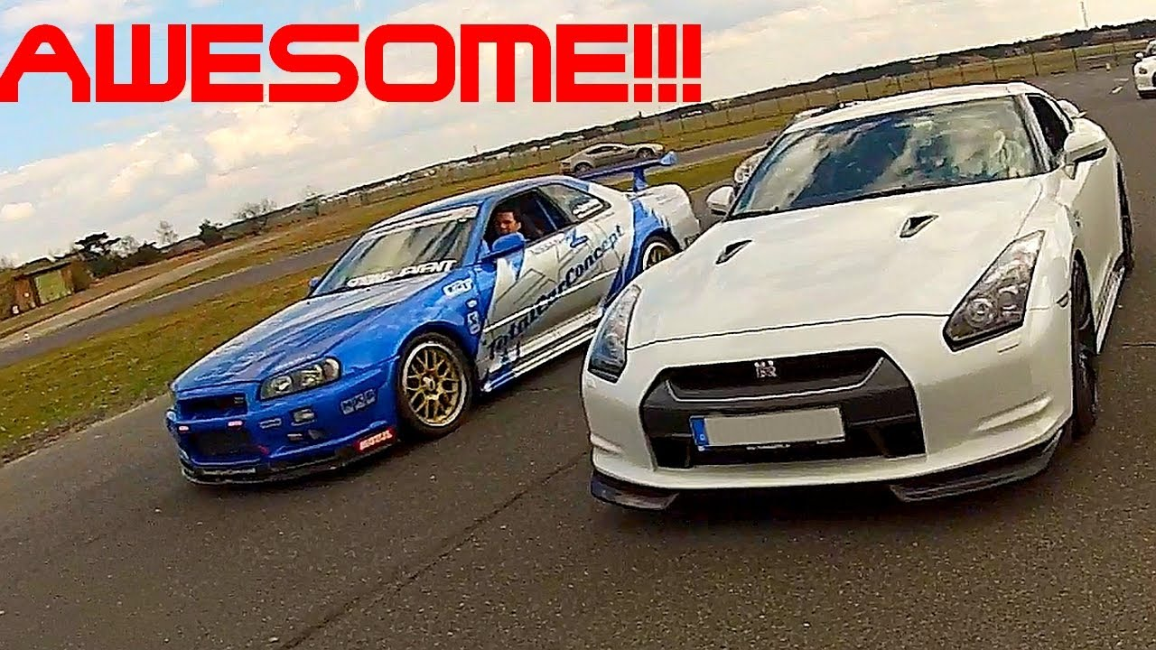 Attractive Nissan Skyline GT R R34 Mines 700HP Vs R35 Switzer P800 Vs Tuned GTR R35  Sound Acceleration   YouTube