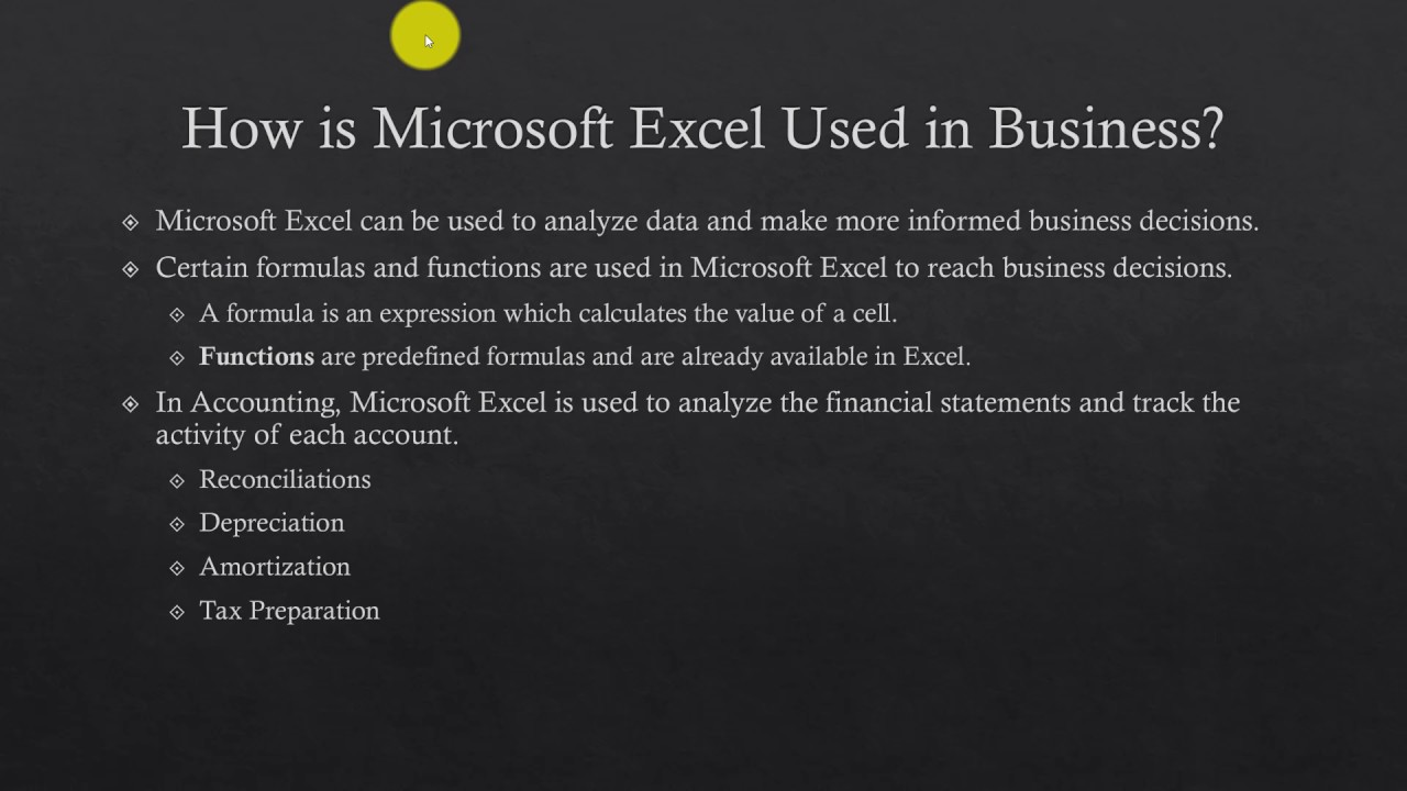 what is microsoft excel used for in business