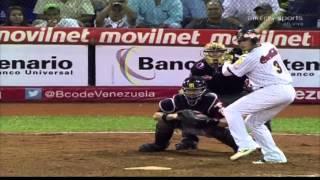 Segundo jonrón Carlos Rivero Leones del Caracas vs Navegantes del Magallanes 27/11/12