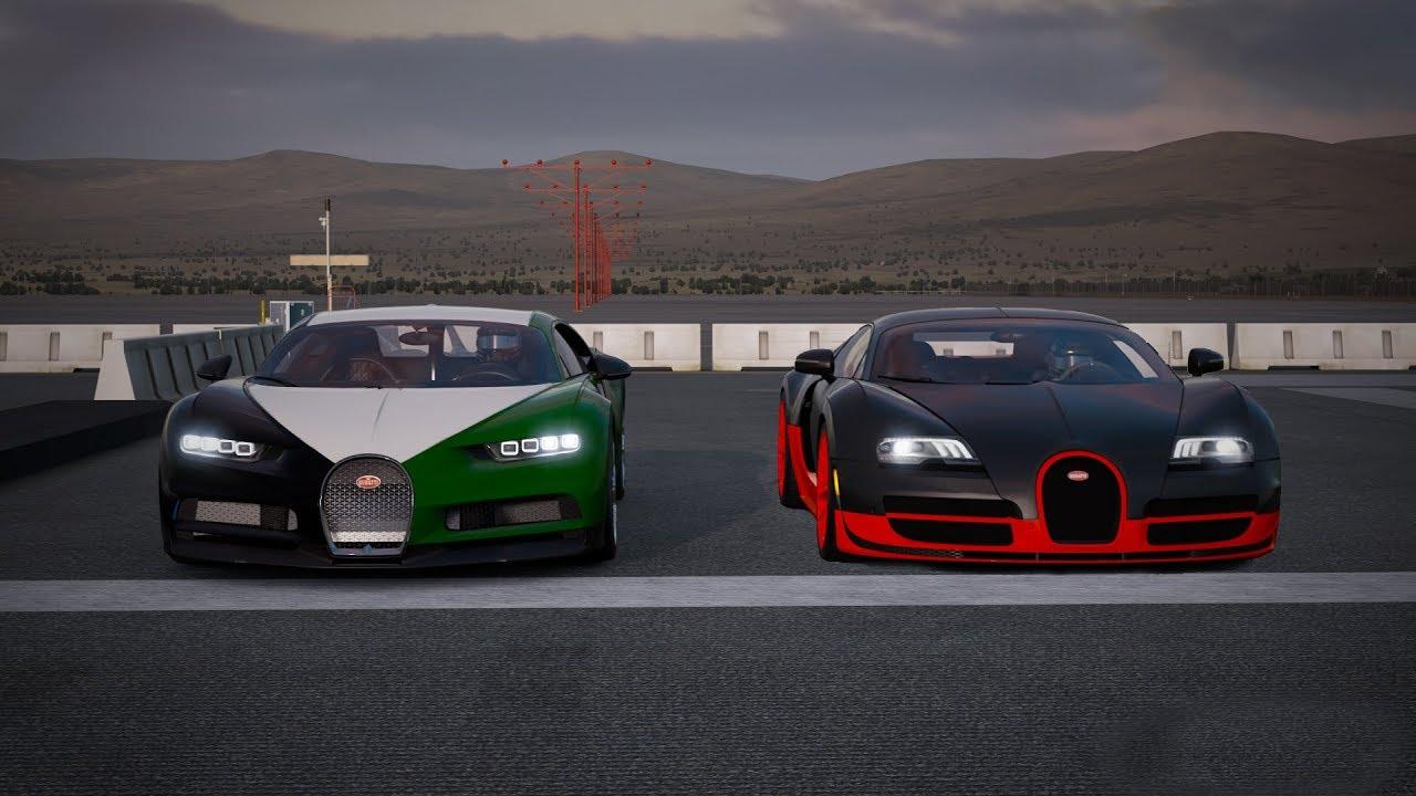 forza 7 - bugatti chiron vs bugatti veyron ss - quarter mile drag