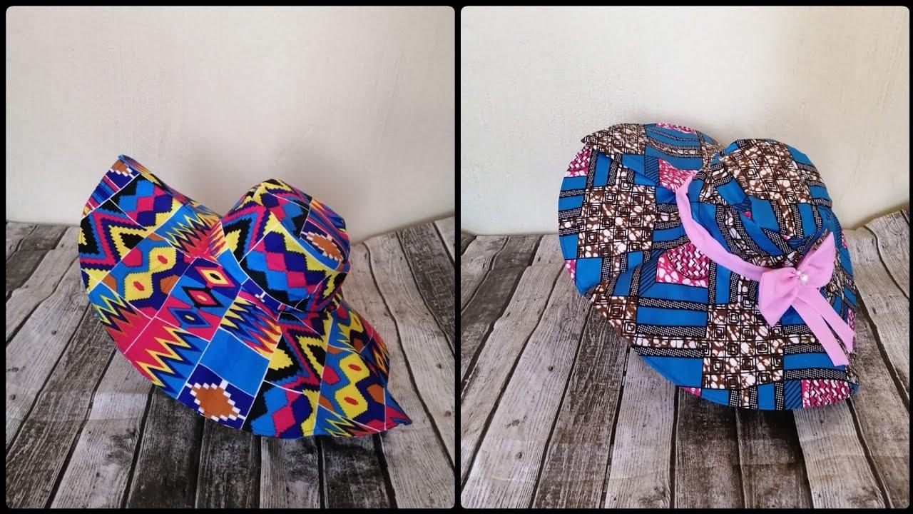 Download DIY Wide Brim Sun hat with African Print Fabric Sun-hat Tutorial