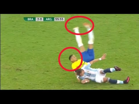 Brazil vs Argentina * neymar almost die * Brutal injury *