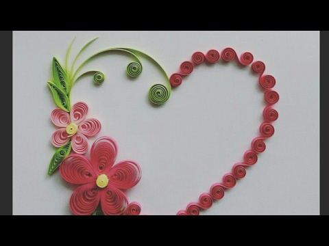 decorate quilling greeting card and wall design heart type. Black Bedroom Furniture Sets. Home Design Ideas