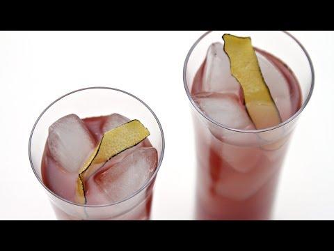 Blackcurrant Cocktail with Coconut Water & Burnt Lemon Peel