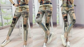 Denim Printed Letter Fashion Trends Lady Jeans Review | Best Jeans For Women Fashion 2018