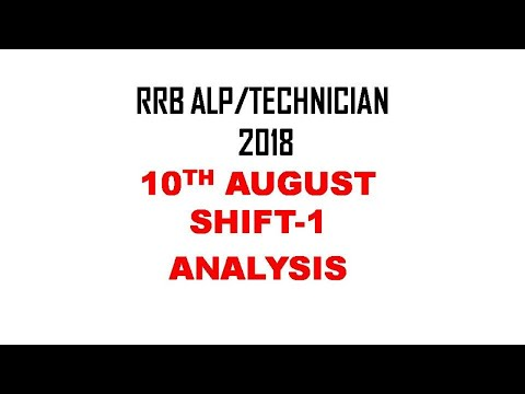 RRB ALP/Technician 10th August SHIFT-1 Exam Analysis and Questions Asked