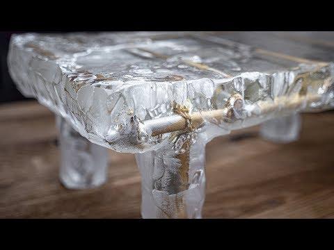 Как сделать ледяной столик из кипящей эпоксидки. Стройхак.