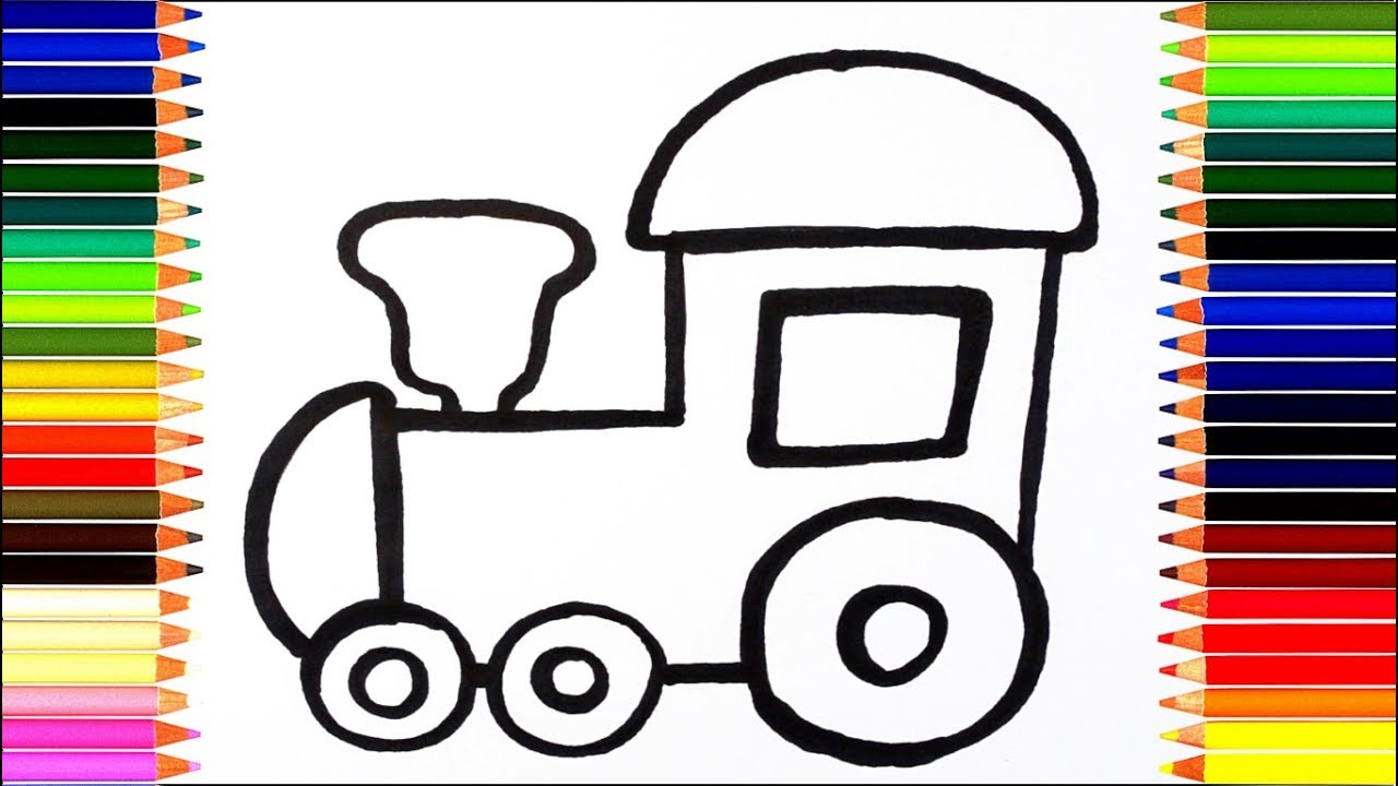 как нарисовать паровозик томас мультик раскраска паровоз для детей учим цвета