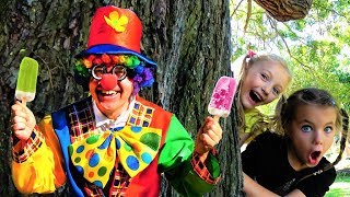 Funny kids playing with Clown and Ice Cream truck