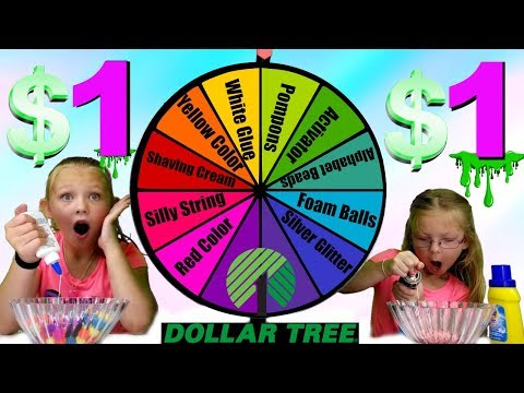 MYSTERY WHEEL OF 1 DOLLAR SLIME CHALLENGE!!!