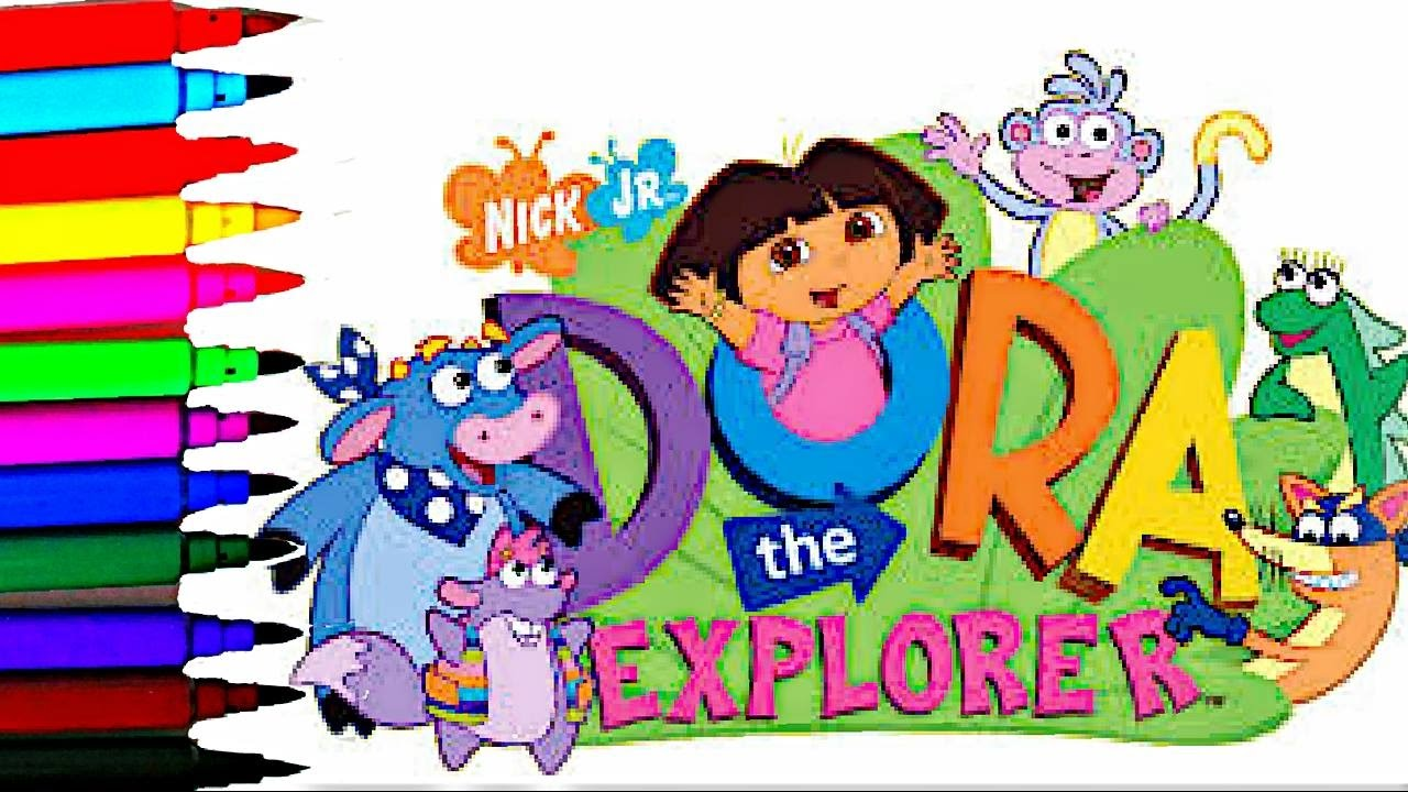 coloring page dora the explorer kids coloring dora boots tico kids
