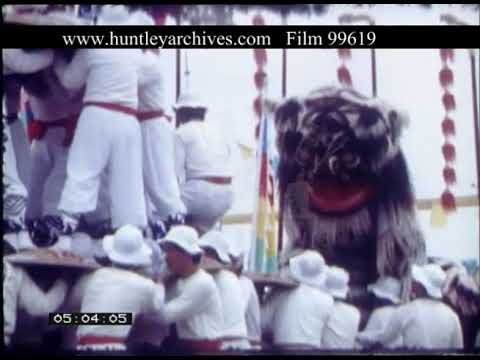 Chinese Lion Dance And Human Pyramid, 1970s - Film 99619