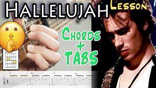Hallelujah Guitar Lesson - Leonard Cohen & Jeff Buckley Fingerstyle, TABS  - Beginner & Intermediate