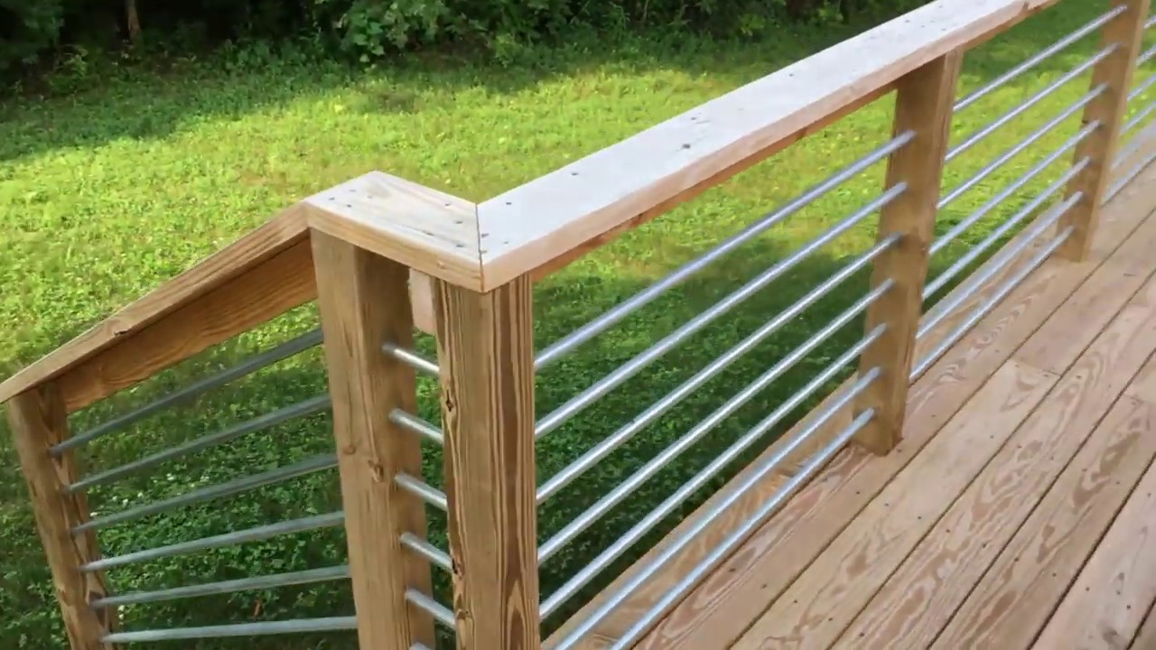 How To Build A Deck With Metal Conduit Railings Youtube | Diy Galvanized Pipe Handrail | Entrance | Abs Pipe | Curved Steel Pipe | Repurposed | Simple Pipe