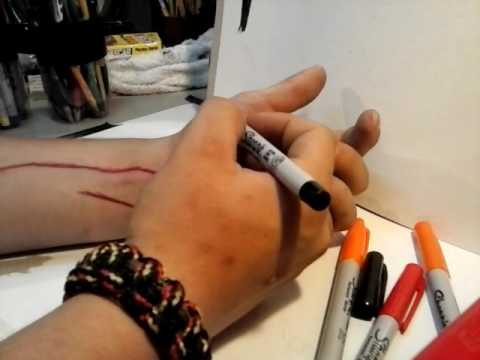 how to draw cuts on your arm